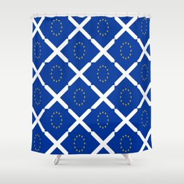 Mix of flag : UE and scotland Shower Curtain
