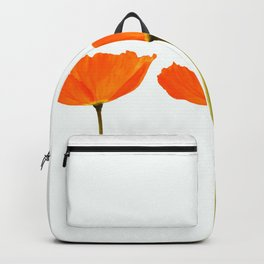 Three Orange Poppy Flowers White Background #decor #society6 #buyart Backpack