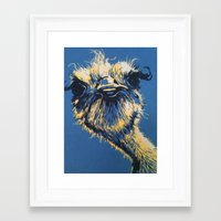 ostrich Framed Art Prints featuring ostrich by Theresa Morgan