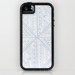Simply Tribal Tile in Sky Blue on Lunar Gray iPhone Case