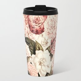Vintage & Shabby floral camellia flowers watercolor pattern Travel Mug