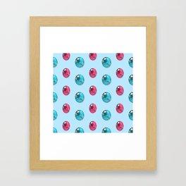 Faceted Oval Gemstones Pattern Framed Art Print