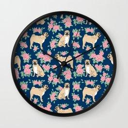 Pug florals rose pattern minimal modern pet friendly dog breed custom pet art Wall Clock