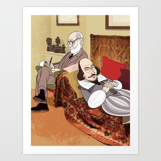 Freud analysing Shakespeare Art Print