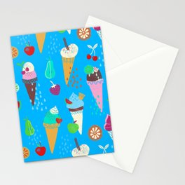 Ice Cream Fruity Pattern Stationery Cards