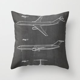 Boeing 777 Airliner Patent - 777 Airplane Art - Black Chalkboard Throw Pillow
