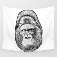gorilla Wall Tapestries featuring Gorilla by Jose Solano