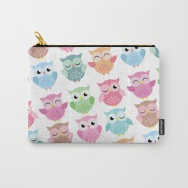 Pastel Owls Print Carry-All Pouch