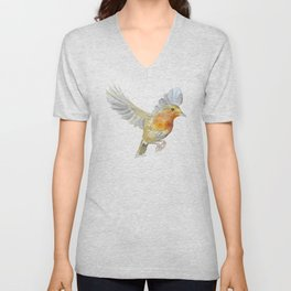 Robin in Flight Watercolor Unisex V-Neck