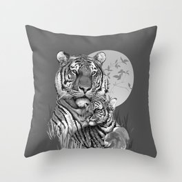Tiger with Cub (B/W) Throw Pillow