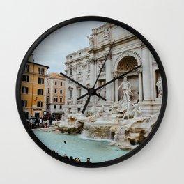 Trevi Fountain | Italian pastel colored houses Wall Clock