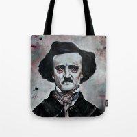 edgar allan poe Tote Bags featuring Edgar Allan Poe by Bella Harris