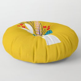 Mid-Century Floral Pitcher on mustard Floor Pillow