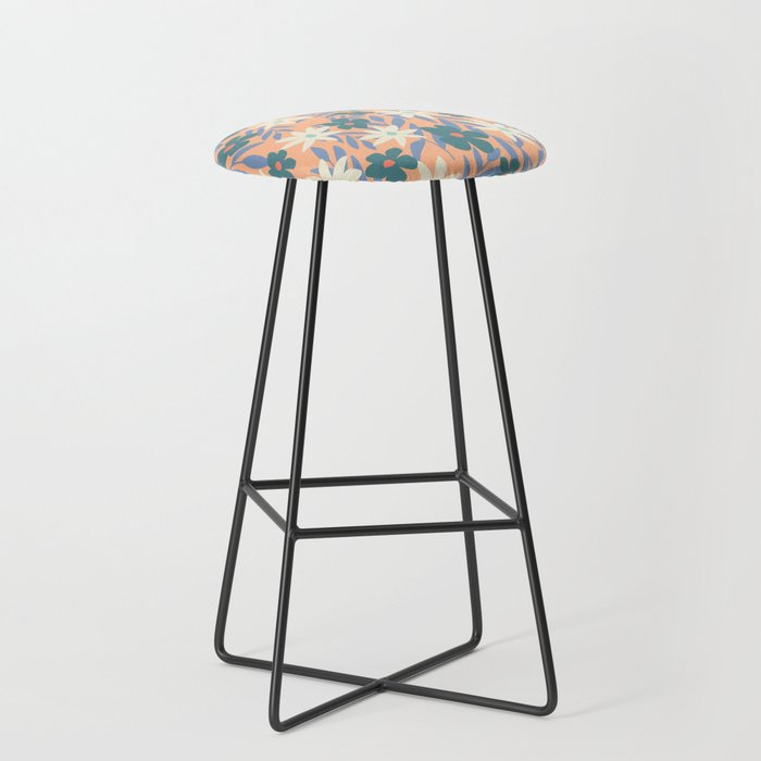 Just Peachy Floral Bar Stool