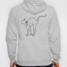 Sphynx Cat Arching Its Back - Naked Cat -  Simple Line - Minimal Hoody