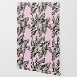 Watercolor tropical palm leaves pink Wallpaper