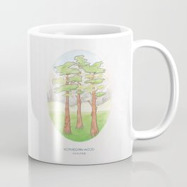 Haruki Murakami's Norwegian Wood // Illustration of a Forest and Mountains in Pencil Coffee Mug