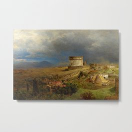Via Appia with the Tomb of Caecilia Metella in Roman Italian Countryside by Oswald Achenbach Metal Print
