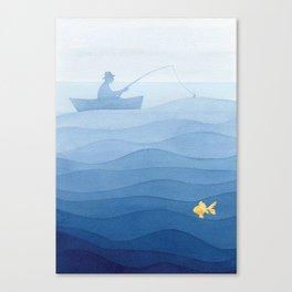 Fisherman & gold fish Canvas Print