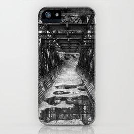 Tumwater Canoyn Pipeline Bridge Black and White iPhone Case