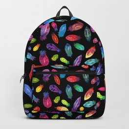 Rainbow Watercolor Feather Pattern on Black Backpack
