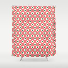 Holiday Hexies Pink & Green Shower Curtain