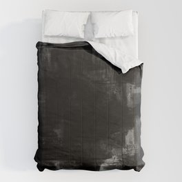 Pointless - Black and white abstract textured painting Comforters