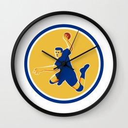Handball Player Striking Circle Retro Wall Clock