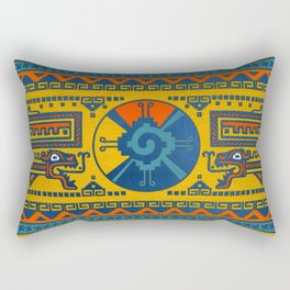 Hunab Ku Mayan symbol Leather texture Rectangular Pillow