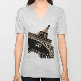 Eiffel Tower Material Unisex V-Neck