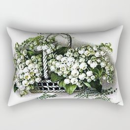 Vintage Lily of the Valley Flower Basket Rectangular Pillow