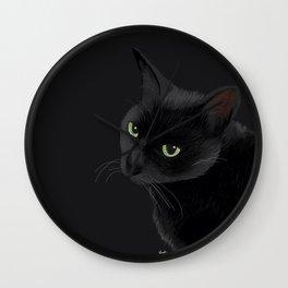 Black cat in the dark Wall Clock