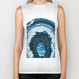 Blue White Agate with Blue Glitter #1 #gem #decor #art #society6 Biker Tank