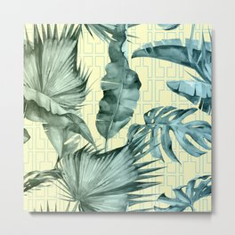 Simply Island Mod Palm Leaves on Pale Yellow Metal Print