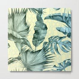 Simply Island Mod Palm Leaves on Pale Yellow Metal Print