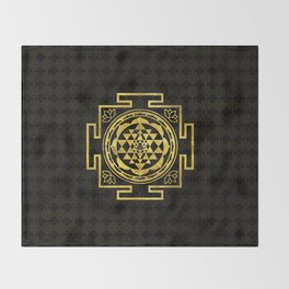 Golden Sri Yantra  / Sri Chakra Throw Blanket