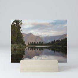 New Zealand Lake at sunset Mini Art Print