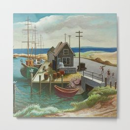 The Harbor Seaside Landscape by Thomas Hart Benton Metal Print