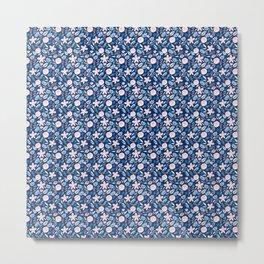 Blush Pink And Navy Blue Watercolor Metal Print