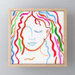 Japanese Watercolor Rainbow Locks Framed Mini Art Print