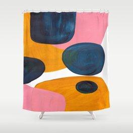Mid Century Modern Abstract Minimalist Retro Vintage Style Pink Navy Blue Yellow Rollie Pollie Ollie Shower Curtain