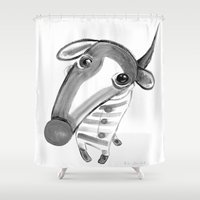 the hound Shower Curtains featuring George Hound by Joule