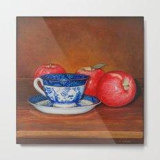 Teacup with Three Apples Metal Print