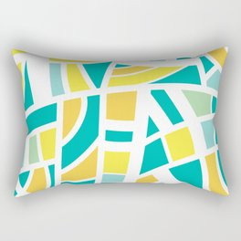 Broken Blue And Yellow Abstract Rectangular Pillow
