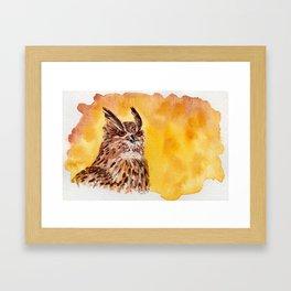 owl-middle owl-hibou moyen duc Framed Art Print