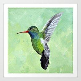 Green Hummingbird Art, Small Bird Painting, Birds and Berry Studio Art Print