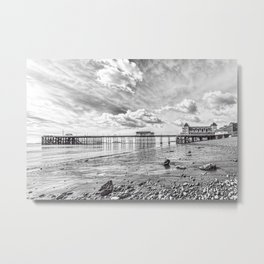 Penarth Pier Morning Light 2 Monochrome Metal Print
