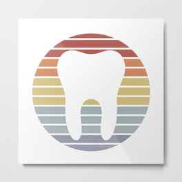 Dentist White Tooth Vintage Design Metal Print
