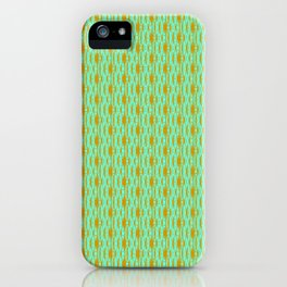 Copper Lines on Turquoise Mint Green Tether Dotted Country Western Abstract Design Pattern iPhone Case