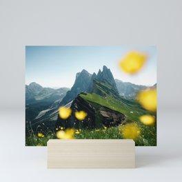 Mountain view Seceda in the Italian Dolomites Mini Art Print